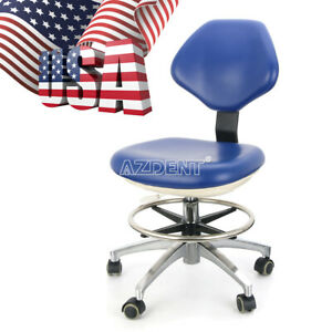 New Dental Doctor s Stool Dentist Mobile Chair Adjustable Pu Hard Leather Blue