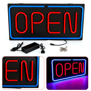 Neon Open Sign 24x12 Inch Led Light 30w Horizontal 60x30cm Clubs Rooms Business