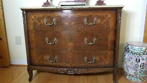 Antique French Dresser Cabinet Chest Of Drawers With Marquetry And Onyx