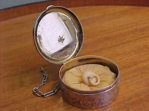 Chatelaine Powder Compact With Puff Antique Victorian Sterling Silver Signed