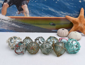 Vintage Japanese Glass Fishing Floats 2 Netted Lot 10