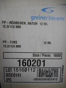 Greiner Plastic 12ml Tube 16 100mm Round Bottom Pp Natural 160201 1600 case