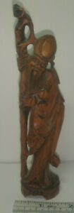 Vintage Chinese Immortal Long Life God Boxwood Wood Carving Statue Figure 6 25