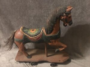 Antique Wood Horse Childs Pull Toy Horse Hand Carved Metal Wheels Primitive