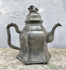 Antique Chinese Export Pewter Teapot Foo Dog Finial Shishi Temple Lion Heavy