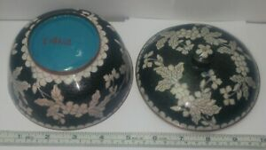 Antique Chinese Cloisonne Lidded Bowl Black White Floral Motif 4 Tall 5 Dia