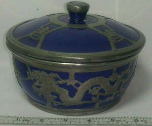 Antique Chinese Etched Pewter Dragon Overlay Cobalt Glaze Pottery Lidded Bowl