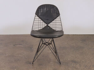 Black Eames Wire Chair With Bikini Cover On Eiffel Base For Herman Miller