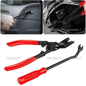 2pcs Car Trim Clip Upholstery Removal Tool Door Panel Fastener Pin Pliers Puller