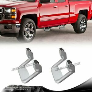 2x Silver Texture Coated Die Cast Aluminum Truck Side Step Bar Universal 4