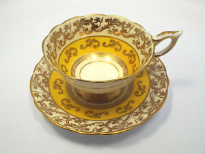 Royal Stafford Yellow Gilt Design Wide Mouth Tea Cup Saucer