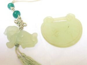 Estate Chinese Old Green Jade Pendant Set Of 2