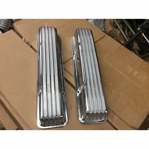 1958 1986 Sbc Chevy 350 Retro Finned Polished Aluminum Tall Valve Covers 327 400