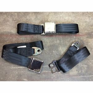 2 X 2 Point Black Airplane Buckle Lap Bench Seat Belt Pair Hot Rod Muscle Car V8