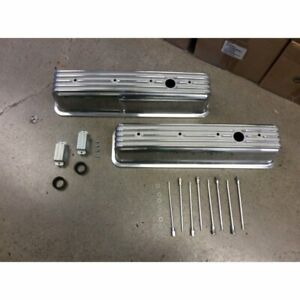 Vintage Center Bolt Tall Finned Valve Covers W Breather Holessmall Block Chevy