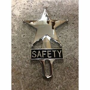 Retro Vintage Safety Star Chromed License Plate Topper Texas Us Marshal Sheriff