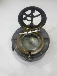 Vintage Nautical Push Button Compass Brass Marine With Antique Black Leather Box