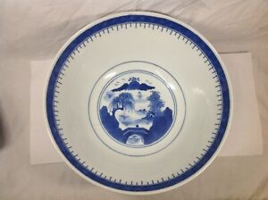 19th Chinese Canton Blue And White Punch Bowl