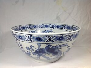 Chinese Blue Enamel Over Glazed Punch Bowl