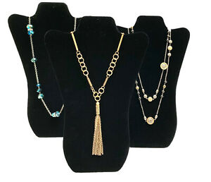 Three Black Velvet Necklace Pendant Easel Display Stands Displays 14 3 4 Tall