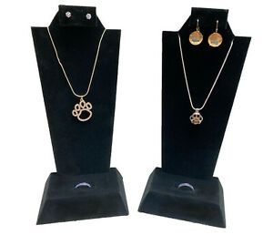 Two Black Velvet Necklace Pendant Earring Ring Combo Display Stands Displays 9
