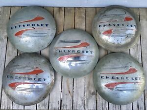 1941 1948 Set 5 Chevy Hub Caps Original Gm Hubcaps Fleetline Pickup Truck