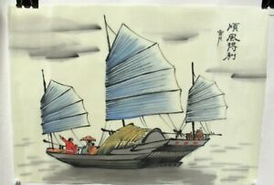 Chinese Fishing Blue Sail Boat Watercolor On Silk Painting Signed