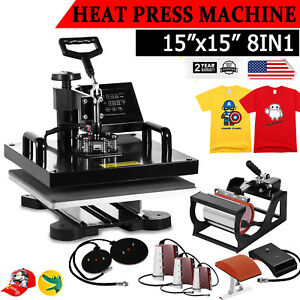 8 In 1 Digital Heat Press Machine Combo Transfer T shirt Mug Plate Hat 15 x15
