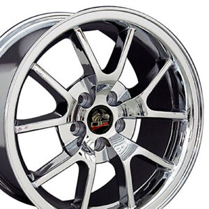 18x9 Chrome Fr500 Style Wheels Set Of 4 18 Rims Fit Mustang Gt 94 04