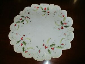 Antique Victorian 16 Holly Floral Silk Embroidered Doily Table Topper