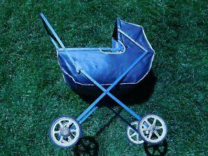 Vintage Baby Doll Buggy Stroller Carriage Bassinet 1940s Folds Metal Wheels