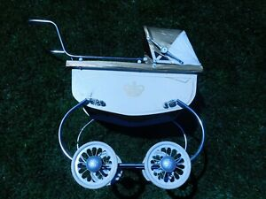 Vintage Coronet Baby Doll Buggy Carriage Stroller White W Gold Pin Stripe