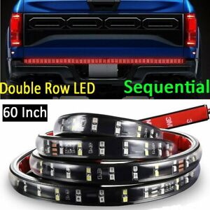 60 Double Row Led Truck Tailgate Light Bar Strip Sequential Turn Signal Reverse