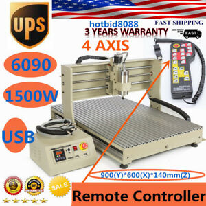 4 Axis Usb 6090 1500w Router Engraving Engraver Machine Handwheel
