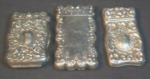 Three Sterling Silver Match Cases