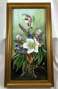 Vintage Hand Painted Porcelain Plaque Flowers Signed Krail Mettlach Germany 2