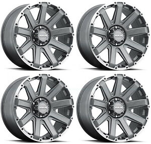 17x9 Mkw M94 8x170 10 Grey Machine Ring Wheels Rims Set 4