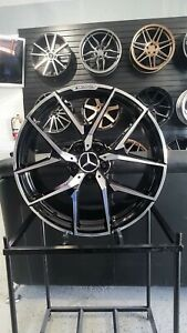 18 Black Machine Y Amg Style Rims Wheels Fits Mercedes Staggered S Class W221