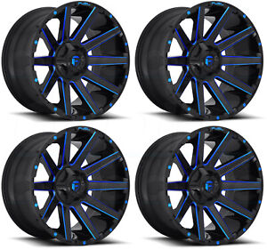 22x12 Fuel Contra D644 6x135 6x5 5 44 Black Blue Wheels Rims Set 4
