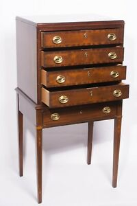 Council Craftsmen Federal Mahogany Inlaid Silver Chest