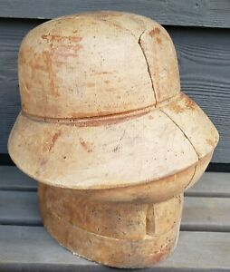 Cloche Hat Mold Puzzle Block Form Antique Vtg Millinery Tool Wood Store Display