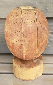 Hat Making Mold Puzzle Block Form Antique Vtg Millinery Tool Wood Store Display