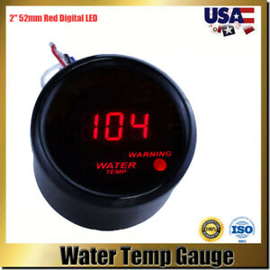 Digital 52mm 2 Red Led Auto Car Water Temp Gauge Temperature Meter With Sensor