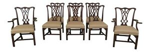 L47434ec Set Of 8 Henkel Harris Chippendale Mahogany Dining Room Chairs