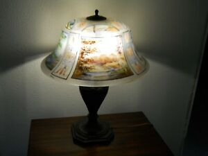 Pairpoint Lamp W Reverse Painted Exeter Shade In Rare Four Seasons Pattern Exc