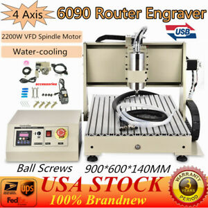 4 Axis 6090 Cnc Usb Router 2200w Metal Engraver Drill carving Engraving Machine