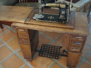 Antique Vintage White Rotary Treadle Sewing Machine Mission Cabinet