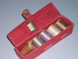 Antique Velvet Sewing Kit Thread Spool Holder Box W Pin Cushion Vintage Pink