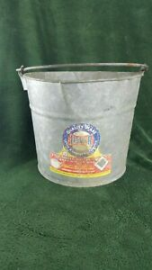 Vintage Dover Stamping Co Galvanized Farm Pail Bucket No 10 Original Label