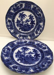 Antique Pair Of English Staffordshire Flow Blue Plates Kybea 10